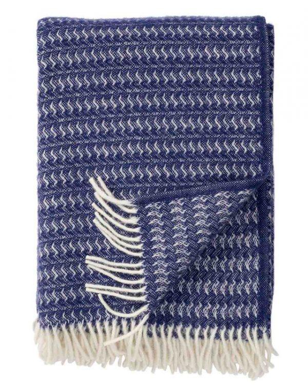 Plaid lamswol Sumba: blauw