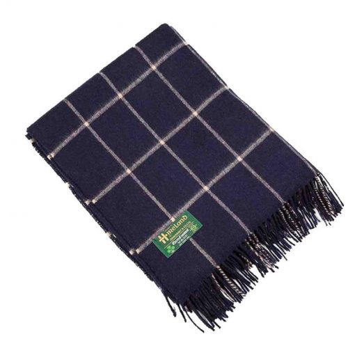 Plaid lamswol: donkerblauw