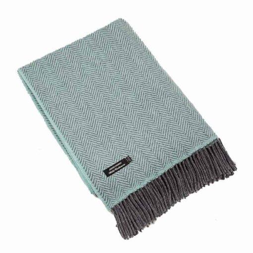 Plaid cashmere-merino: zeeblauw-grijs