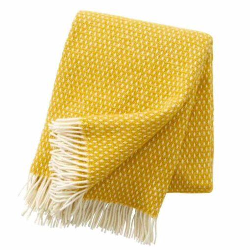 Plaid lamswol Knut: geel saffron