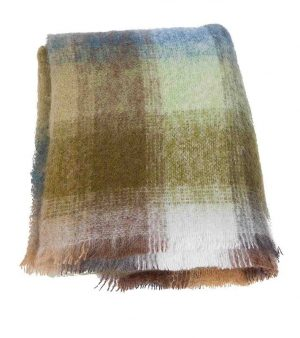 Plaid brushed mohair: ijsblauw