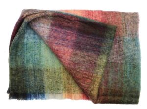 Plaid brushed mohair: blauw rood groen (heide)
