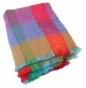 Plaid brushed mohair: multicolor