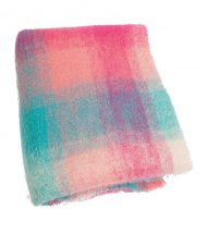 Plaid brushed mohair: roze