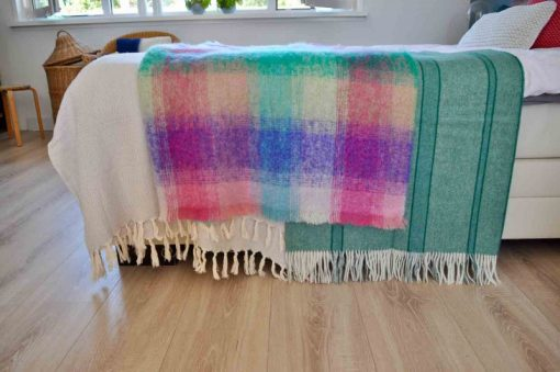 plaid roze groen paars mohair wol