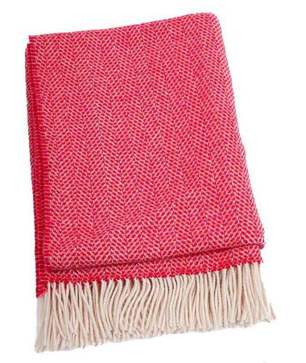 Plaid cashmere-merino: roze rood