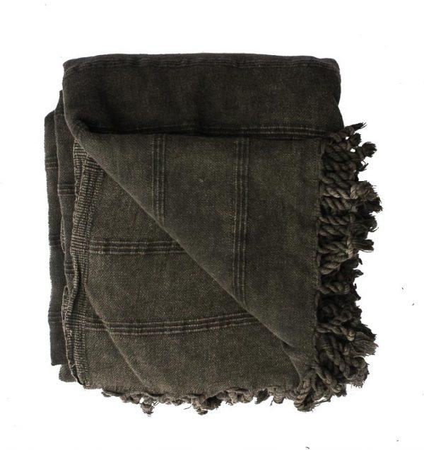 Sprei/plaid katoen: grijs stonewashed