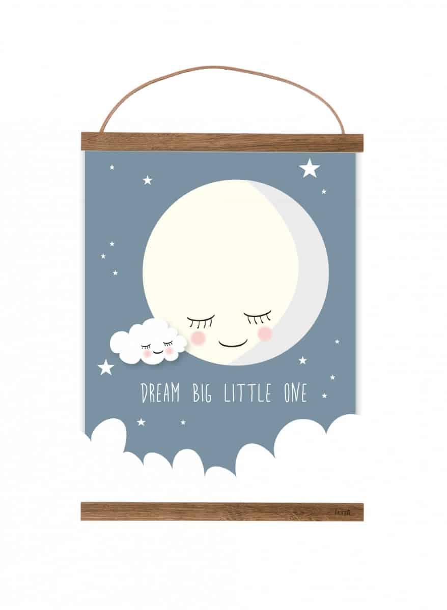 poster maan blauw
