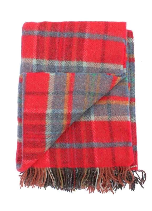 Plaid wol: rood-steenoranje