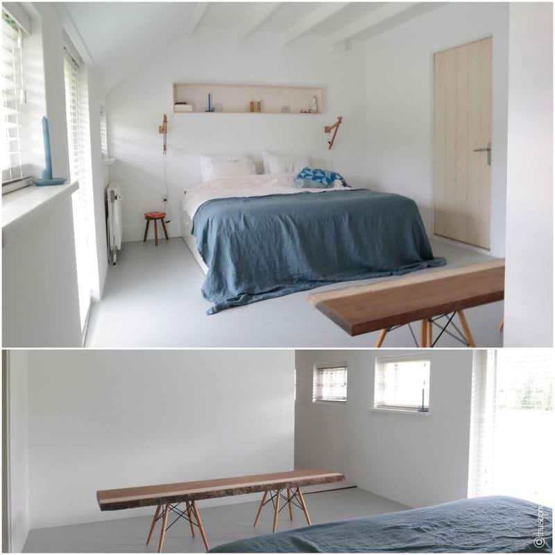slaapkamer blauwe sprei