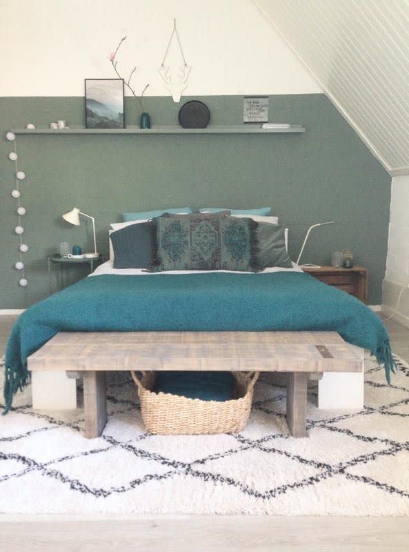 slaapkamer turquoise plaid
