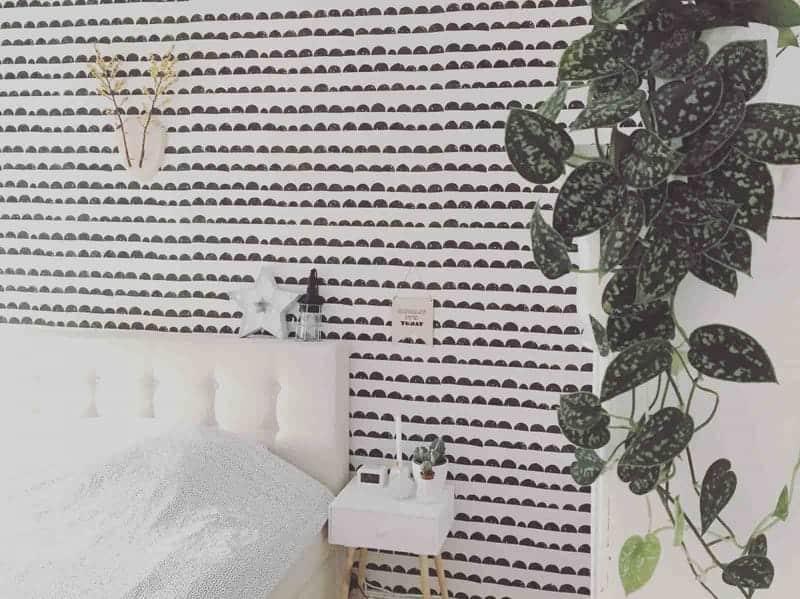 slaapkamer zwart-wit behang