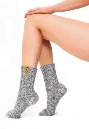 Sokken halfhoog huissokken grijs met Golden Glow label