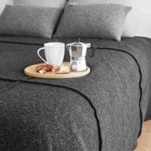 Sprei of deken antraciet grijs