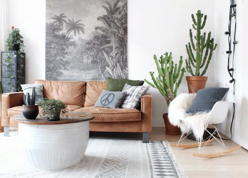urban jungle cactus grijs kussen