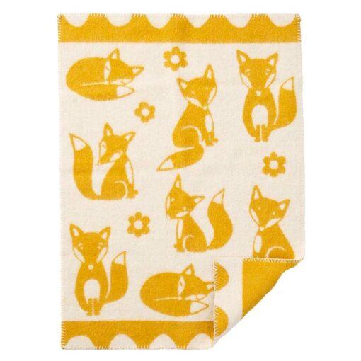 wiegdeken geel lamswol vosjes klippan