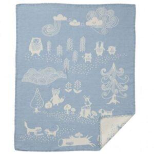 Wiegdeken katoen blauw Little Bear