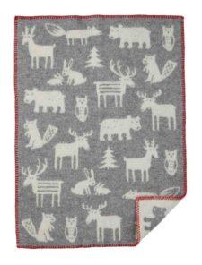 Wiegdeken wol grijs forest