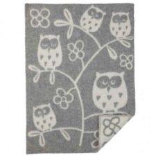 Wiegdeken wol grijs uilen