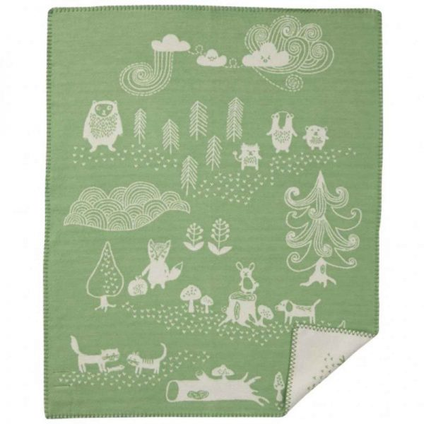 Wiegdeken katoen groen Little Bear