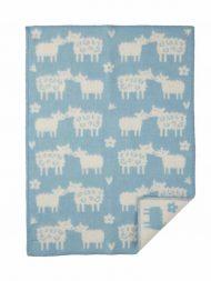 Wiegdeken wol lichtblauw schapen
