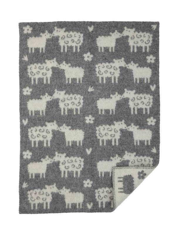 Wiegdeken wol grijs schapen