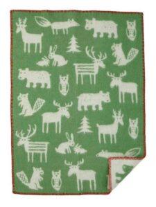 Wiegdeken wol groen forest