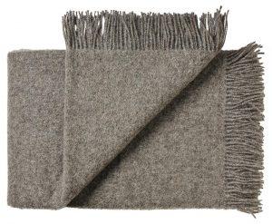 Deken wol: bruin-grijs tweepersoonsbed