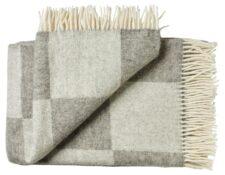 Deken wol: grijs geblokt