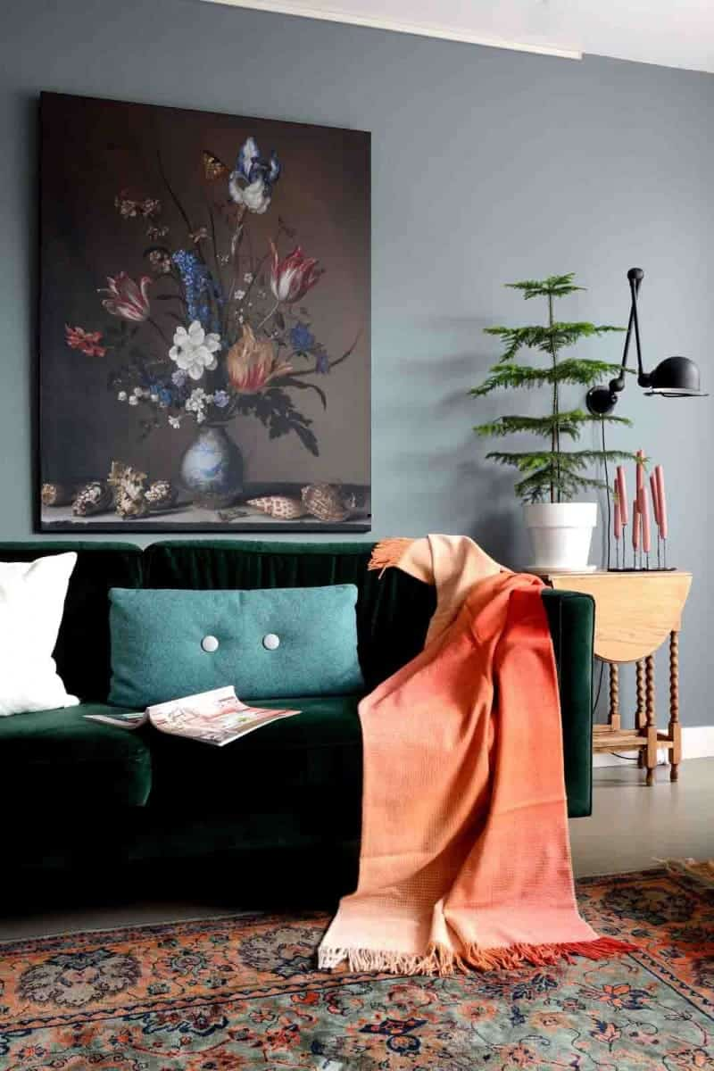 woonkamer kleur muur plaid oranje