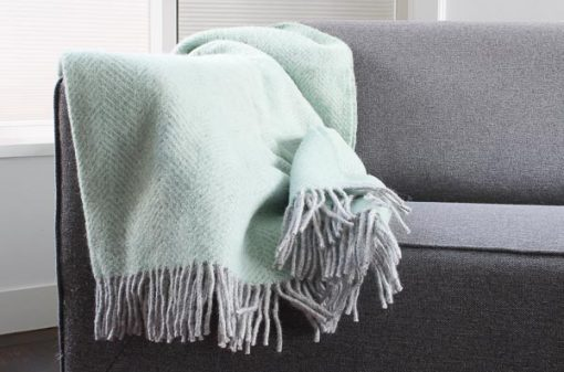 plaid mintgroen visgraat wol