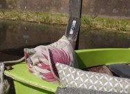 sierkussen roze tuinkussen handgemaakt