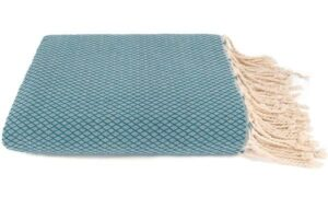plaid petrol blauw grand foulard katoen