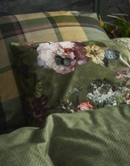 groene kussens ruiten bloemen essenza