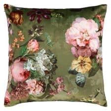 kussen groen bloemen velours essenza