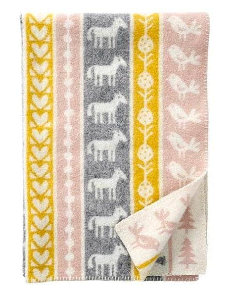 ledikantdeken wol okergeel grijs roze klippan