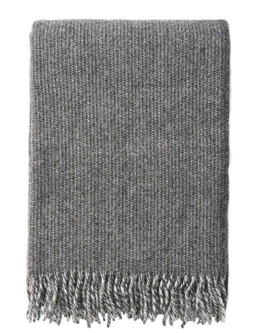 plaid grijs donkergrijs lamswol Klippan