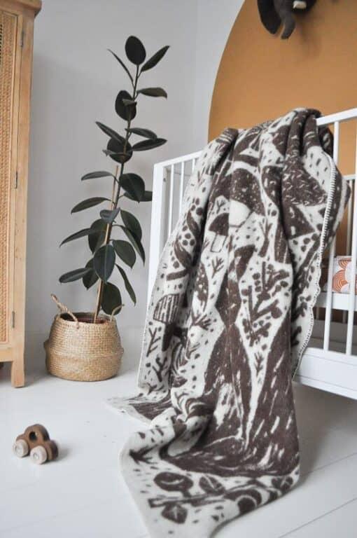 plaid kinderdeken bruin wol