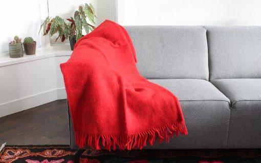 plaid rood effen wol gotland