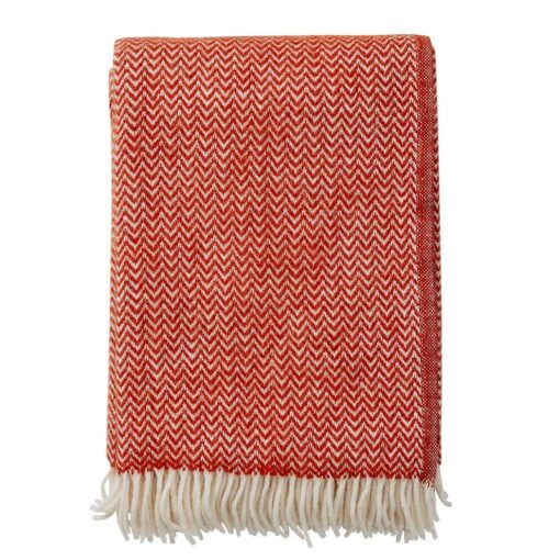 plaid rood lamswol klippan chevron