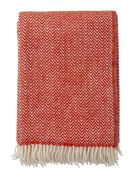 plaid rood wol lamswol klippan