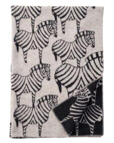 plaid grijs zwart zebra lamswol klippan