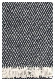 zwarte plaid wol visgraat