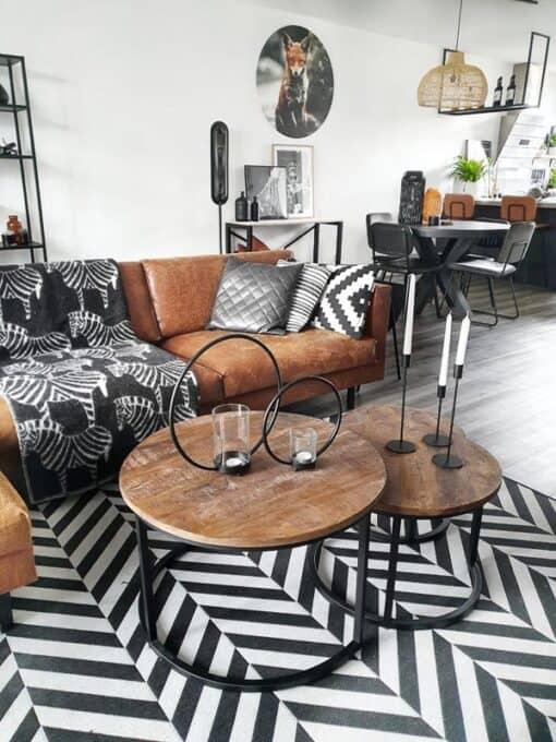 plaid zwart wit zebra wol