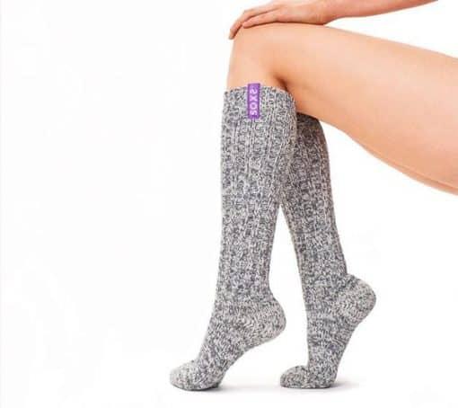 sokken grijs wol violet anti-slip