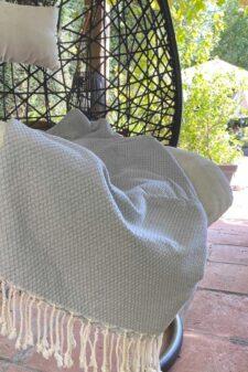 sprei plaid grijs ottoman katoen