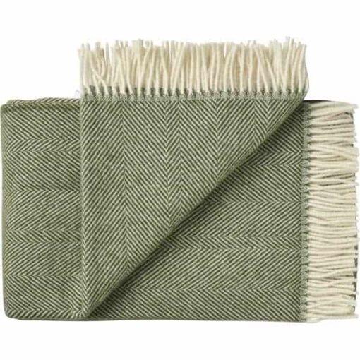 plaid deken wol groen visgraat silkeborg uldspinderi