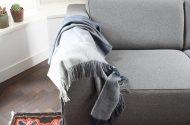 donkerblauwe plaid alpacawol