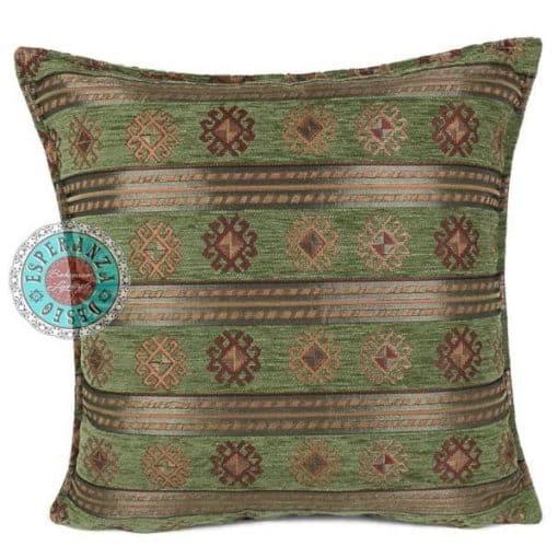 kussen groen strepen olijfgroen meubelstof