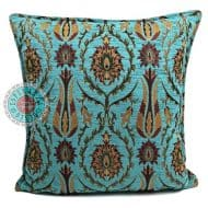 kussen turquoise bloemen meubelstof